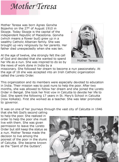 short biography mother teresa grade 6 reading lesson 11 biographies mother teresa 1