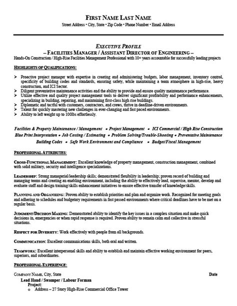 Facility Manager Sle Resume by Facilities Manager Resume Template Premium Resume Sles Exle