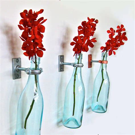 Wine Bottle Flower Vase by Turquoise Wine Bottle Flower Vases 3 By Greatbottlesoffire