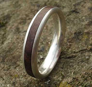 domed profile cocobolo wood inlay silver ring