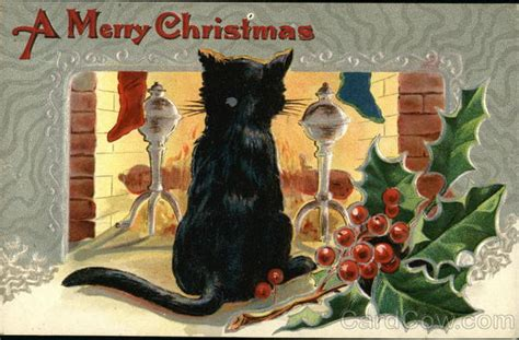 merry christmas black cat  front  fire  cats