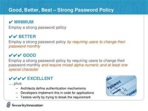 perfect pattern password infosec policies to appsec standards ed final