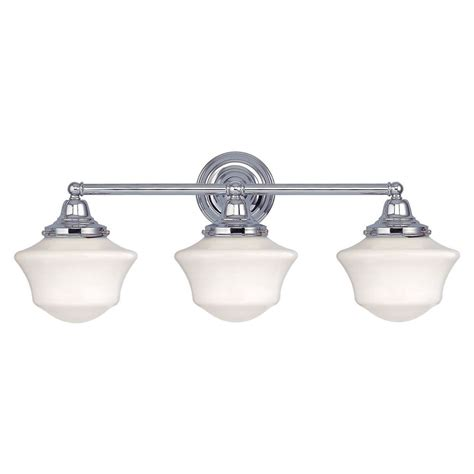 Schoolhouse Bathroom Light Schoolhouse Bathroom Light With Three Lights In Chrome Finish Wc3 26 Gc6 Destination Lighting