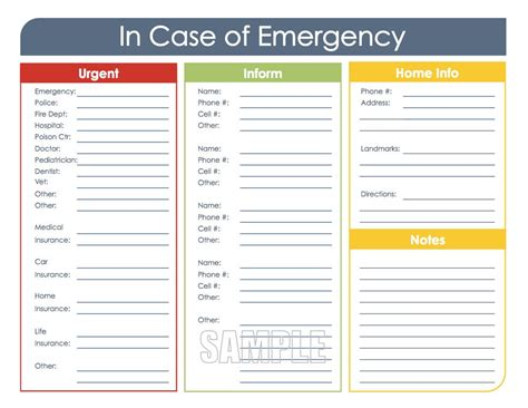 In Of Emergency Card Template Word by In Of Emergency Printable Organizing Pdf Instant