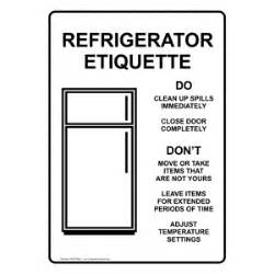 kitchen signs for work refrigerator etiquette with symbol sign nhe 15950 safe