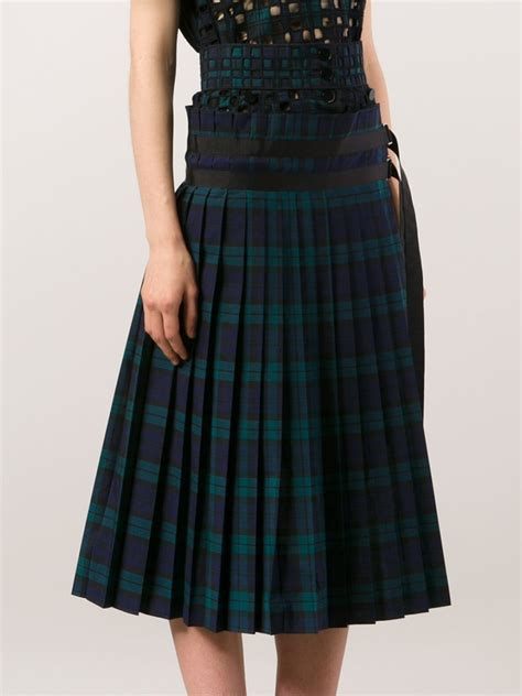 sacai plaid pleated skirt in blue lyst