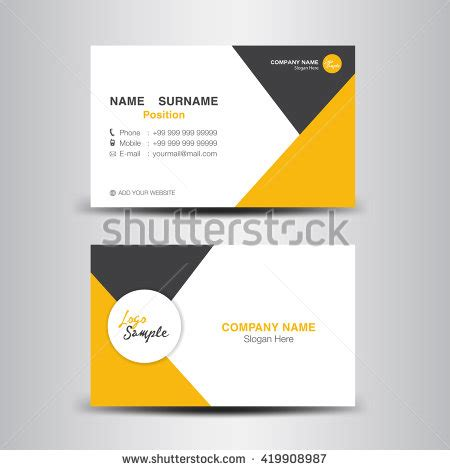 design background name card minimal yellow black business card design stock vector