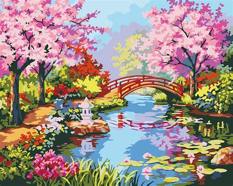Fish Pot Decoration Watercolor Spring Scenery Www Pixshark Com Images