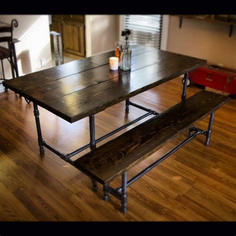 6ft iron and wood dining table with matching bench