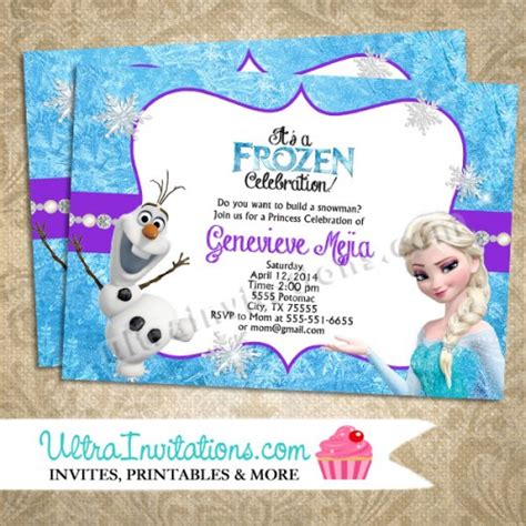 printable birthday invitations olaf 7 best images of frozen birthday party invitations free