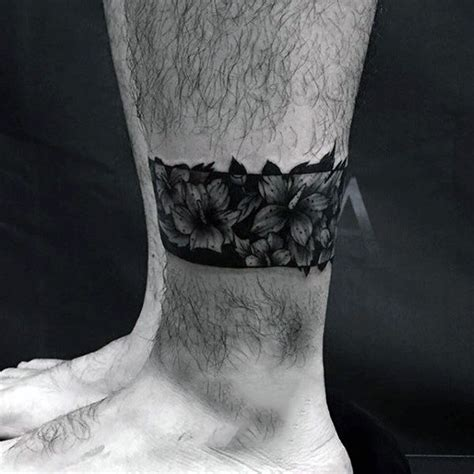 leg band tattoos for men lower leg floral black band flower mens tattoos