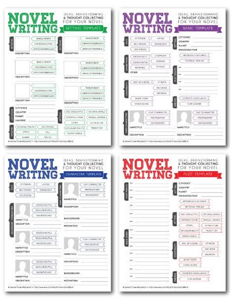 novel writing templates v2 character sheet tips and book