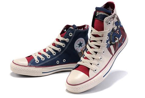 Kaos Converse New converse all high tops superman printed blue beige