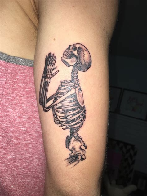 berkeley tattoo praying skeleton by george cise warhorse in