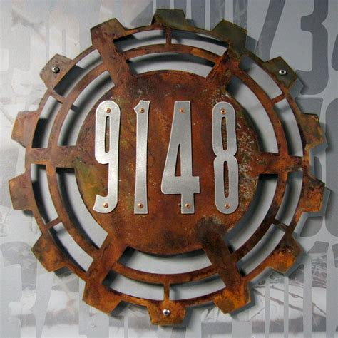 metal house numbers custom steunk house numbers in rusted steel stainless
