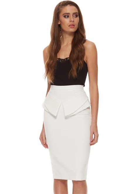 genese white pencil skirt white peplum pencil skirt
