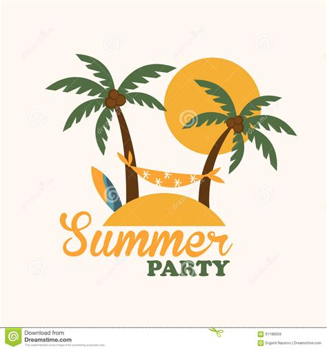 tropical holiday island  palm trees flat stock vector