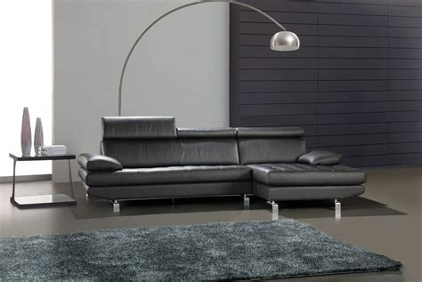 658 black leather tufted l shape sectional sofa