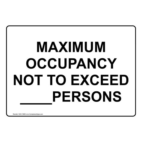 Maximum Occupancy Not To Exceed Persons Sign Nhe 15663 Capacity Occupancy Sign Template