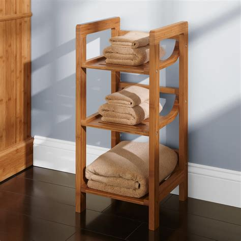 three tier bamboo towel shelf bathroom