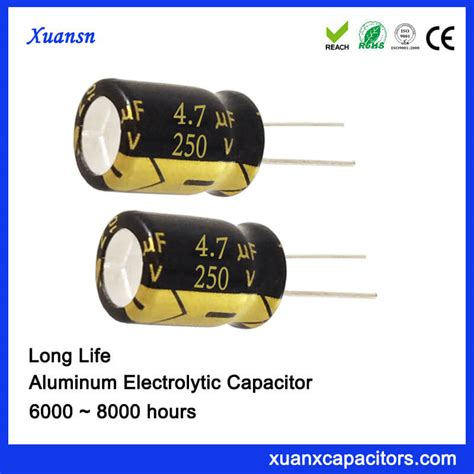 capacitor hours 250v 4 7uf aluminum electric capacitor 8 12mm