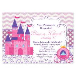 Princess Invites Templates Free Princess Invitation Retro Pink Chevron Purple Damask Royal