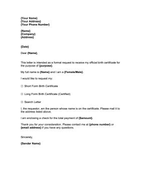 birth certificate letter request request for birth certificate template
