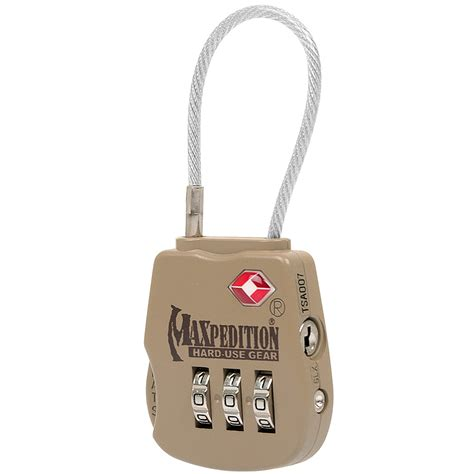 Maxpedition Tactical Luggage Lock Mxtsaloc Maxpedition Tactical Luggage Lock Khaki Accessories