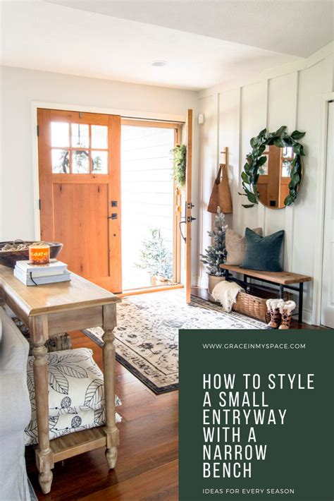 style  small foyer   narrow entryway bench