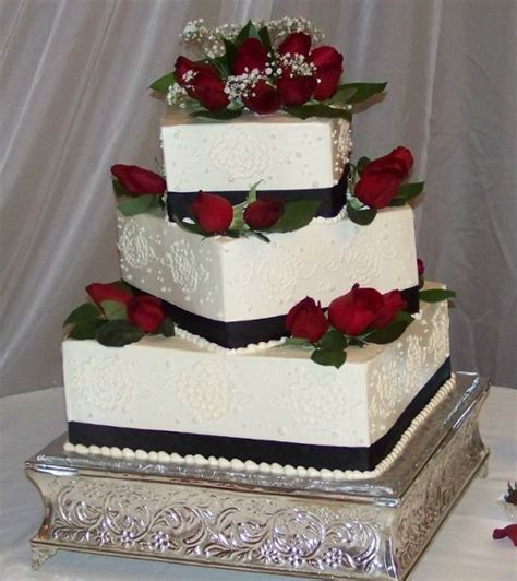 Square Wedding Cake Designs by Black White Square Wedding Cakes Photos Pictures