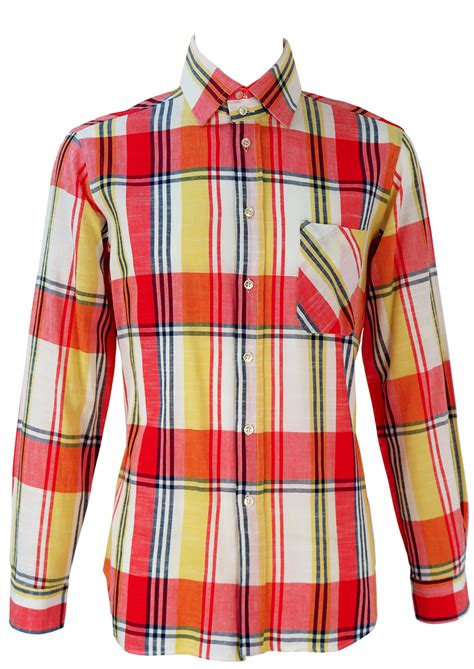 pattern bright yellow shirt red white yellow and blue check patterned shirt m