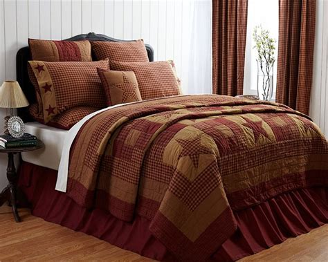 primitive bedding 5pc primitive burgundy ninepatch star quilt shams skirt
