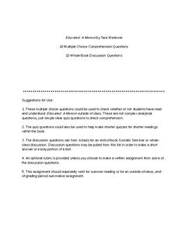 Reading Quiz and Discussion Questions for Educated: A