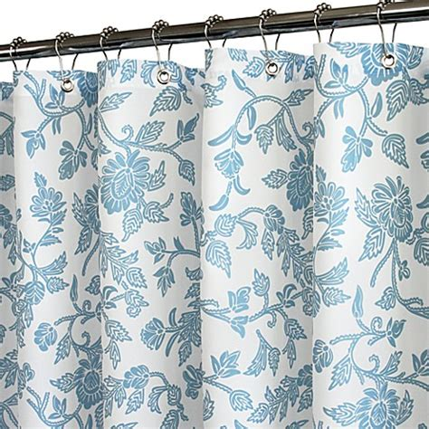 blue floral shower curtain buy blue shower curtains fabric from bed bath beyond