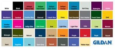 gildan color chart chart gildan 2000 color chart 2013