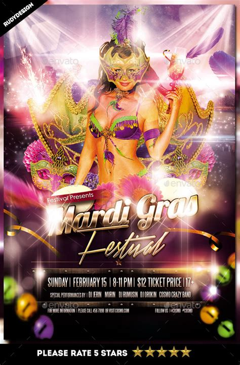Mardi Gras Fat Tuesday Carnival Flyer Template By Rudydesign Graphicriver Mardi Gras Powerpoint Template Free