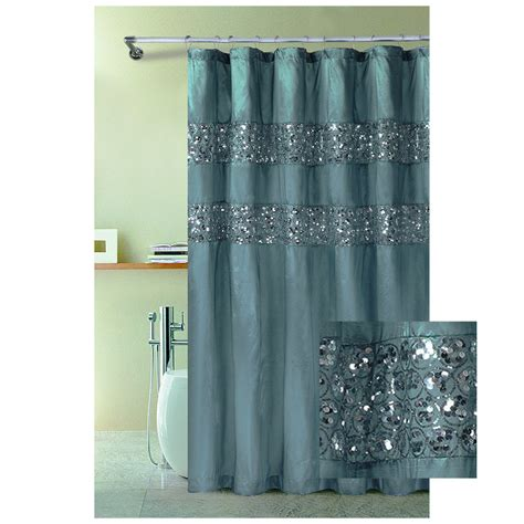 Blue Bathroom Shower Curtains Bathroom And More Blue Fabric Shower Curtain With Stitched Sequins 72 Quot X 72 Quot With Metal