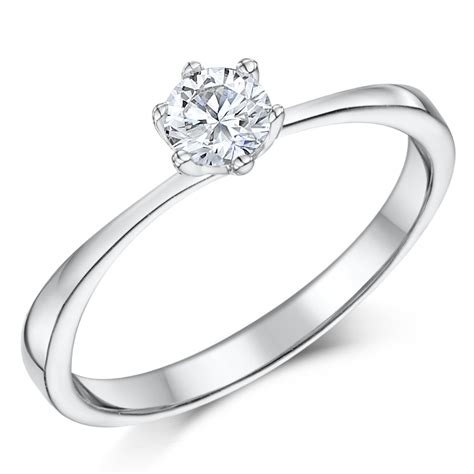 9ct white gold 1 3 carat six claw solitaire