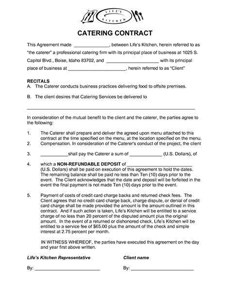 catering contract agreement template 28 images
