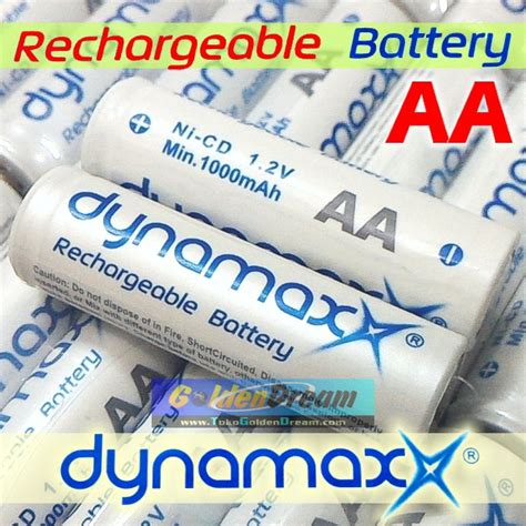 Baterai Dynamax Size Aa 1 5v jual baterai cas aa dynamax 1 2v rechargeable ni cd battery batere recharge golden