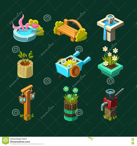 game design elements in vector from stock 2 video game garden design collection of elements stock