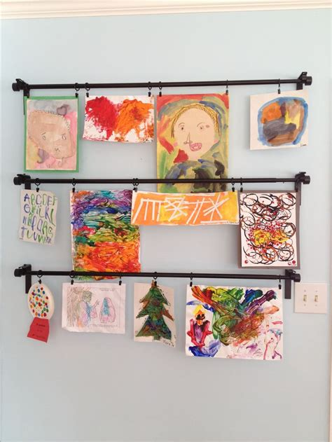 hanging kids artwork children s art displayed with ikea curtain rods