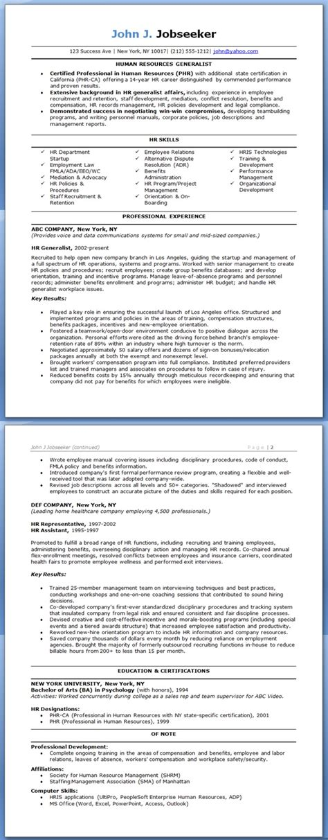 human resources generalist resume resume badak