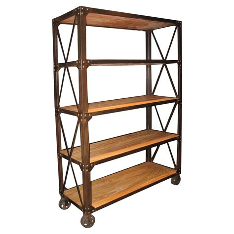 industrial bookshelves chorley industrial rustic metal wood rolling bookcase with wheels kathy kuo home