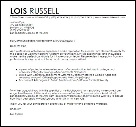 Communications Assistant Cover Letter Sample   LiveCareer