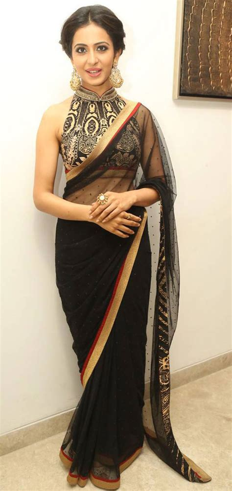 Black Sleeveless Blouse With Saree by 20 Beautiful Black Saree Blouse Designs