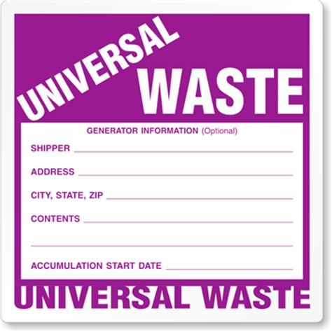 universal waste label sku lb w525