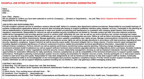 appointment letter format for network administrator network offer letters