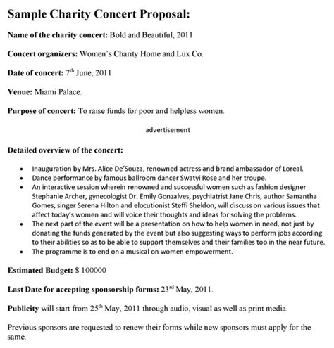 charity concert letter charity concert template