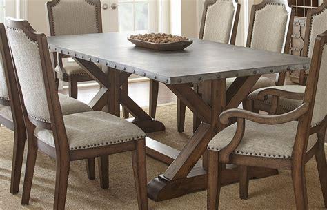 metal top dining table wayland brushed tobacco metal top rectangular dining table